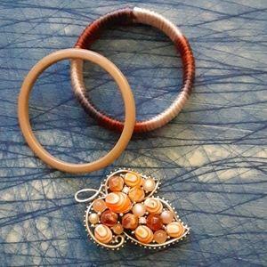 Vintage pin and bangles